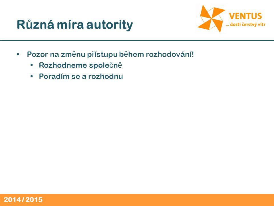 2014 / 2015 R ů zná míra autority Pozor na zm ě nu p ř ístupu b ě hem rozhodování.