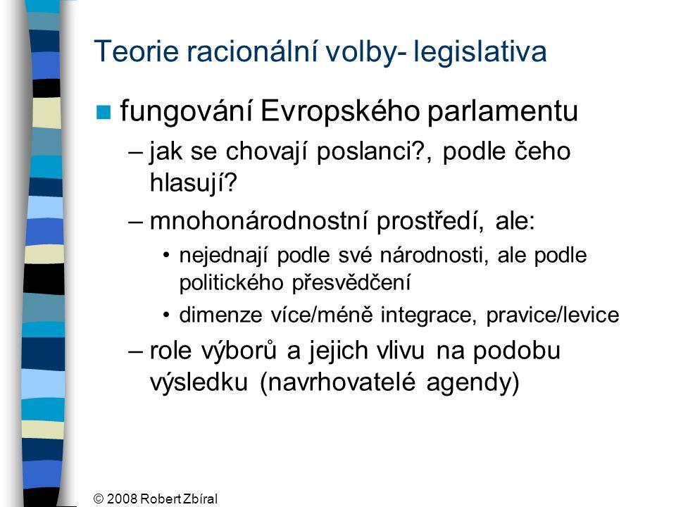 © 2008 Robert Zbíral Teorie racionální volby- legislativa fungování Evropského parlamentu –jak se chovají poslanci?, podle čeho hlasují.