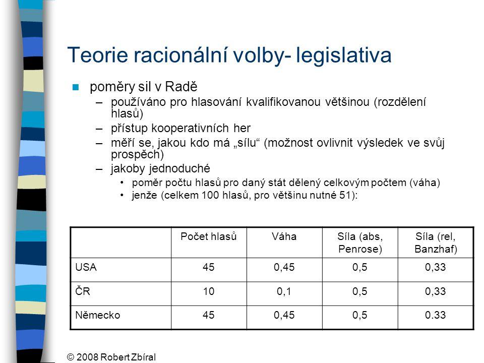 """© 2008 Robert Zbíral Teorie racionální volby- legislativa poměry sil v Radě –používáno pro hlasování kvalifikovanou většinou (rozdělení hlasů) –přístup kooperativních her –měří se, jakou kdo má """"sílu (možnost ovlivnit výsledek ve svůj prospěch) –jakoby jednoduché poměr počtu hlasů pro daný stát dělený celkovým počtem (váha) jenže (celkem 100 hlasů, pro většinu nutné 51): Počet hlasůVáhaSíla (abs, Penrose) Síla (rel, Banzhaf) USA450,450,50,33 ČR100,10,50,33 Německo450,450,50.33"""