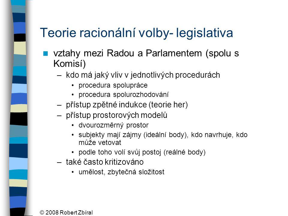 © 2008 Robert Zbíral Teorie racionální volby- legislativa vztahy mezi Radou a Parlamentem (spolu s Komisí) –kdo má jaký vliv v jednotlivých procedurách procedura spolupráce procedura spolurozhodování –přístup zpětné indukce (teorie her) –přístup prostorových modelů dvourozměrný prostor subjekty mají zájmy (ideální body), kdo navrhuje, kdo může vetovat podle toho volí svůj postoj (reálné body) –také často kritizováno umělost, zbytečná složitost