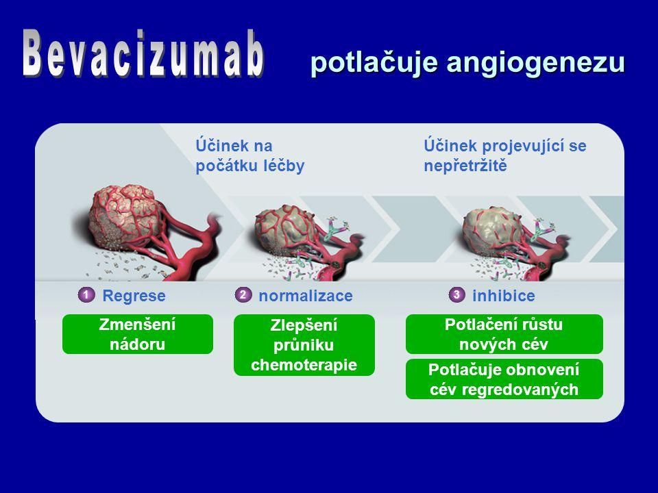 potlačuje angiogenezu Účinek na počátku léčby Účinek projevující se nepřetržitě 1 Regresenormalizace 2 inhibice 3 Zmenšení nádoru Zlepšení průniku chemoterapie Potlačení růstu nových cév Potlačuje obnovení cév regredovaných Willett, et al.
