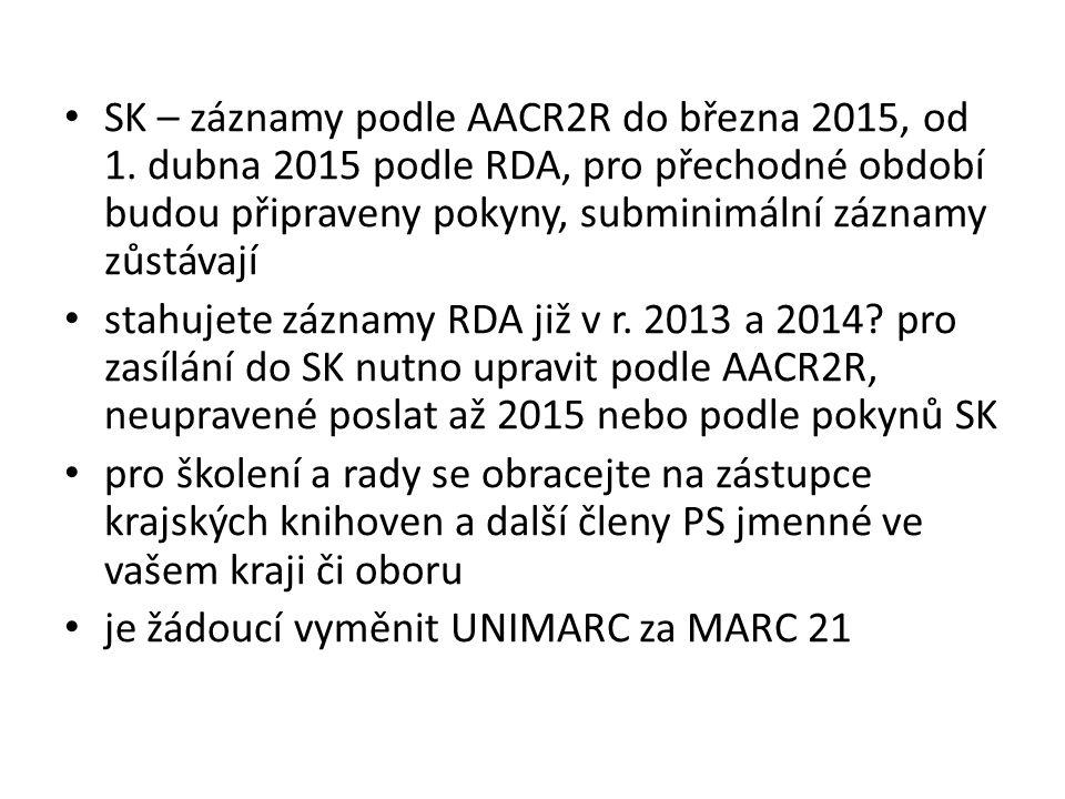 SK – záznamy podle AACR2R do března 2015, od 1. dubna 2015 podle RDA, pro přechodné období budou připraveny pokyny, subminimální záznamy zůstávají sta