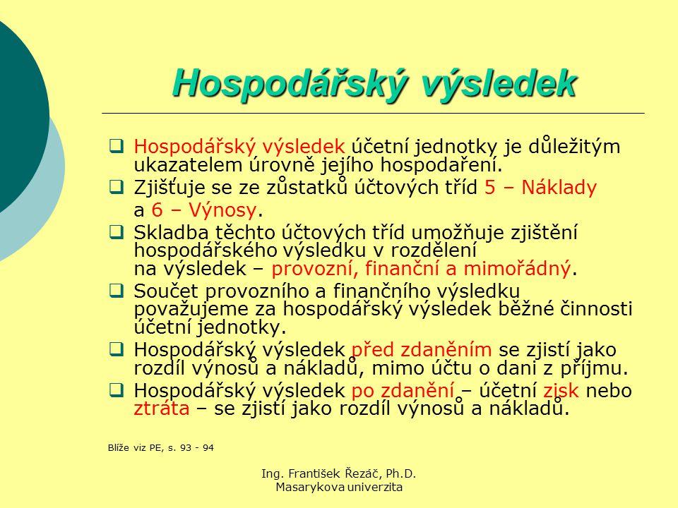 Ing. František Řezáč, Ph.D. Masarykova univerzita Hospodářský výsledek  Hospodářský výsledek účetní jednotky je důležitým ukazatelem úrovně jejího ho
