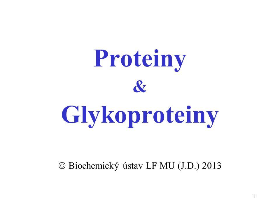 1 Proteiny & Glykoproteiny  Biochemický ústav LF MU (J.D.) 2013