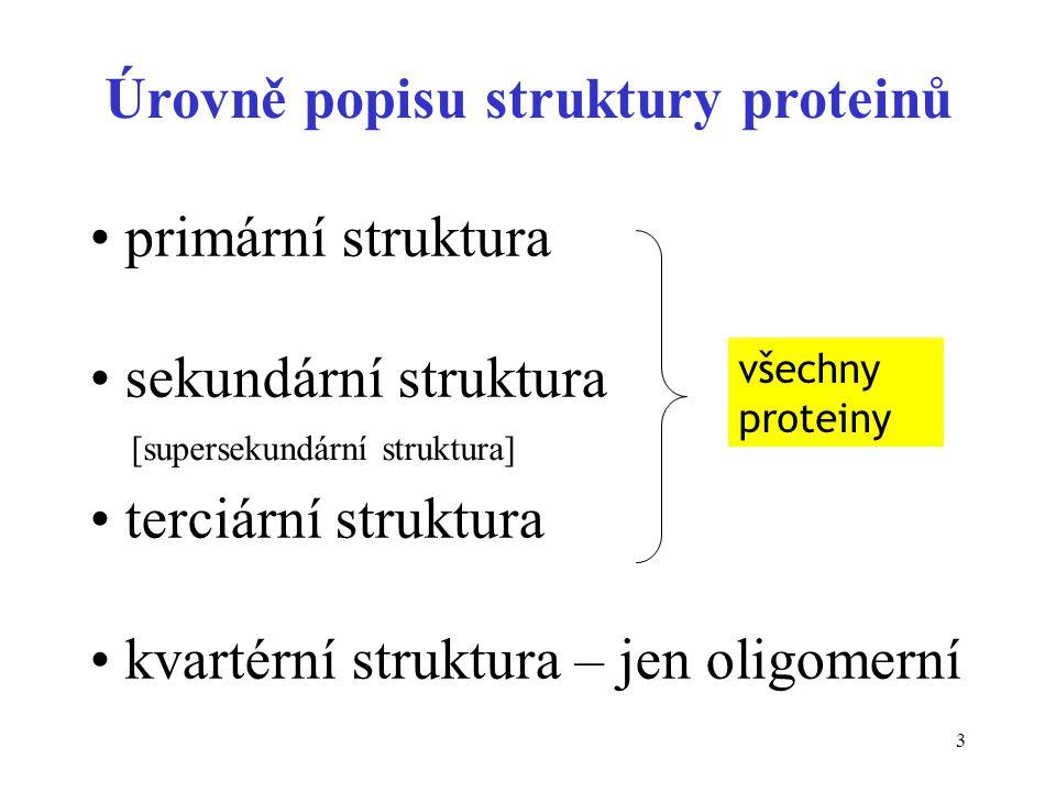 3 Úrovně popisu struktury proteinů primární struktura sekundární struktura terciární struktura kvartérní struktura – jen oligomerní všechny proteiny [