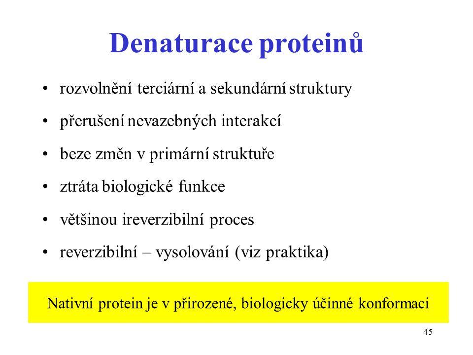 45 Denaturace proteinů rozvolnění terciární a sekundární struktury přerušení nevazebných interakcí beze změn v primární struktuře ztráta biologické fu