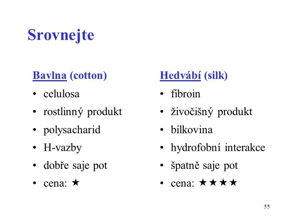 55 Srovnejte Bavlna (cotton) celulosa rostlinný produkt polysacharid H-vazby dobře saje pot cena:  Hedvábí (silk) fibroin živočišný produkt bílkovina