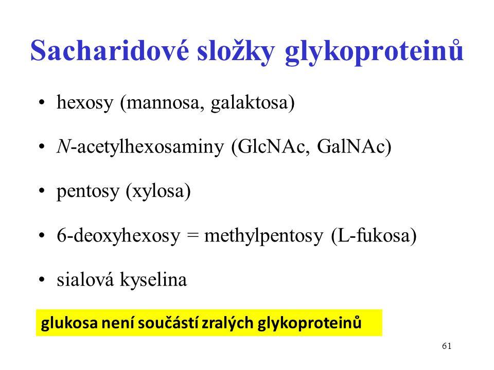 61 Sacharidové složky glykoproteinů hexosy (mannosa, galaktosa) N-acetylhexosaminy (GlcNAc, GalNAc) pentosy (xylosa) 6-deoxyhexosy = methylpentosy (L-
