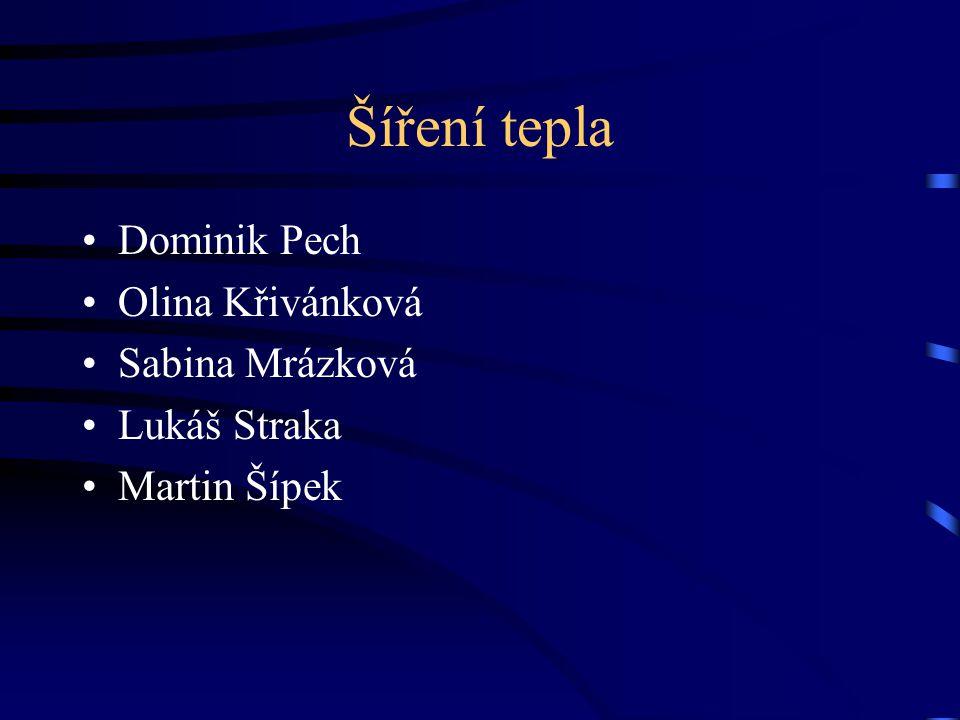 Šíření tepla Dominik Pech Olina Křivánková Sabina Mrázková Lukáš Straka Martin Šípek