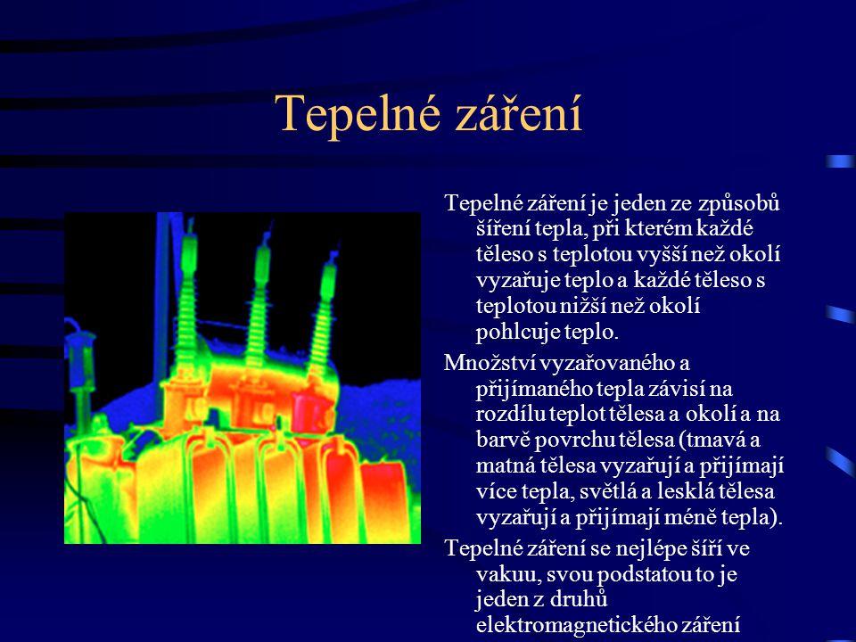 Tepelné záření Tepelné záření je jeden ze způsobů šíření tepla, při kterém každé těleso s teplotou vyšší než okolí vyzařuje teplo a každé těleso s tep