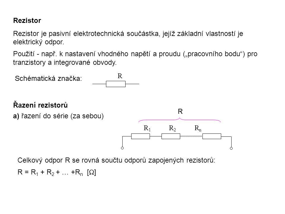 Rezistor Rezistor je pasivní elektrotechnická součástka, jejíž základní vlastností je elektrický odpor. Použití - např. k nastavení vhodného napětí a