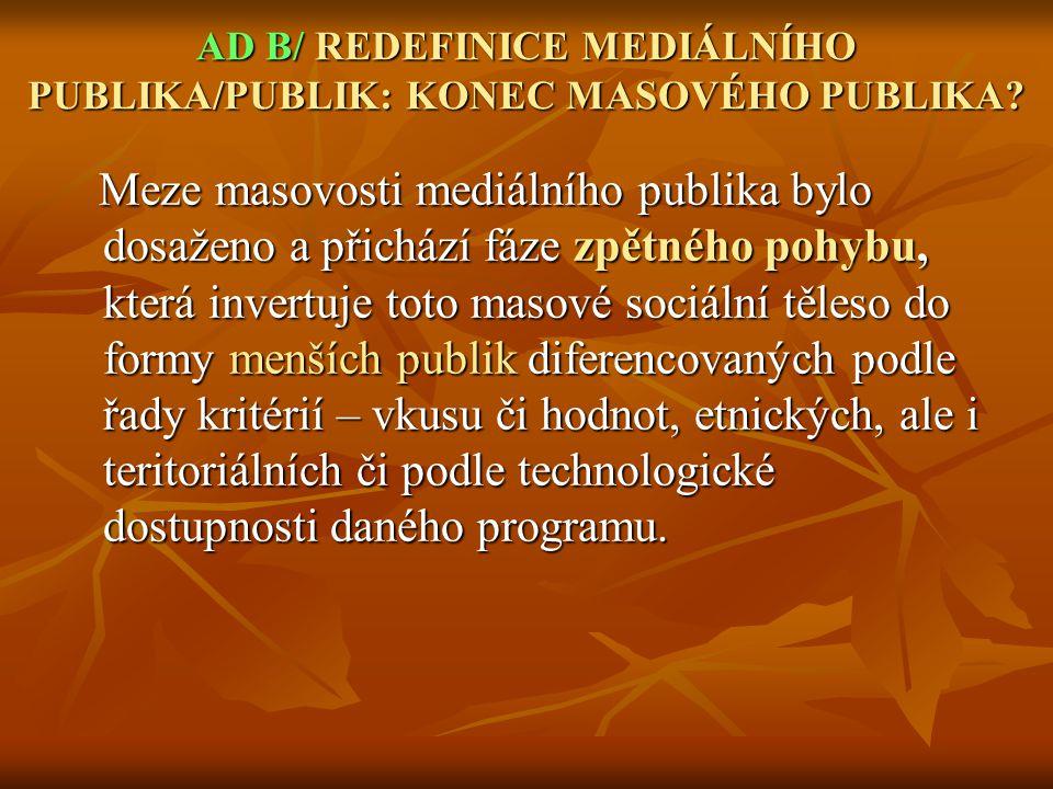 AD B/ REDEFINICE MEDIÁLNÍHO PUBLIKA/PUBLIK: KONEC MASOVÉHO PUBLIKA.