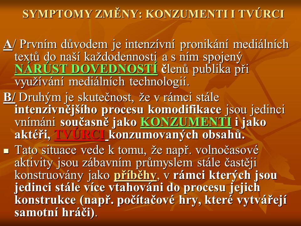 SYMPTOMY ZMĚNY: KONZUMENTI I TVÚRCI A/ Prvním důvodem je intenzívní pronikání mediálních textů do naší každodennosti a s ním spojený NÁRÚST DOVEDNOSTÍ členů publika při využívání mediálních technologií.