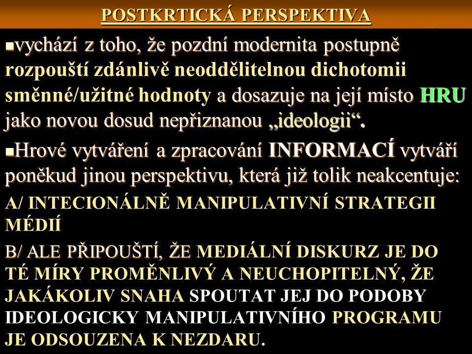 """POSTKRTICKÁ PERSPEKTIVA vychází z toho, že pozdní modernita postupně a dosazuje na její místo HRU jako novou dosud nepřiznanou """"ideologii ."""