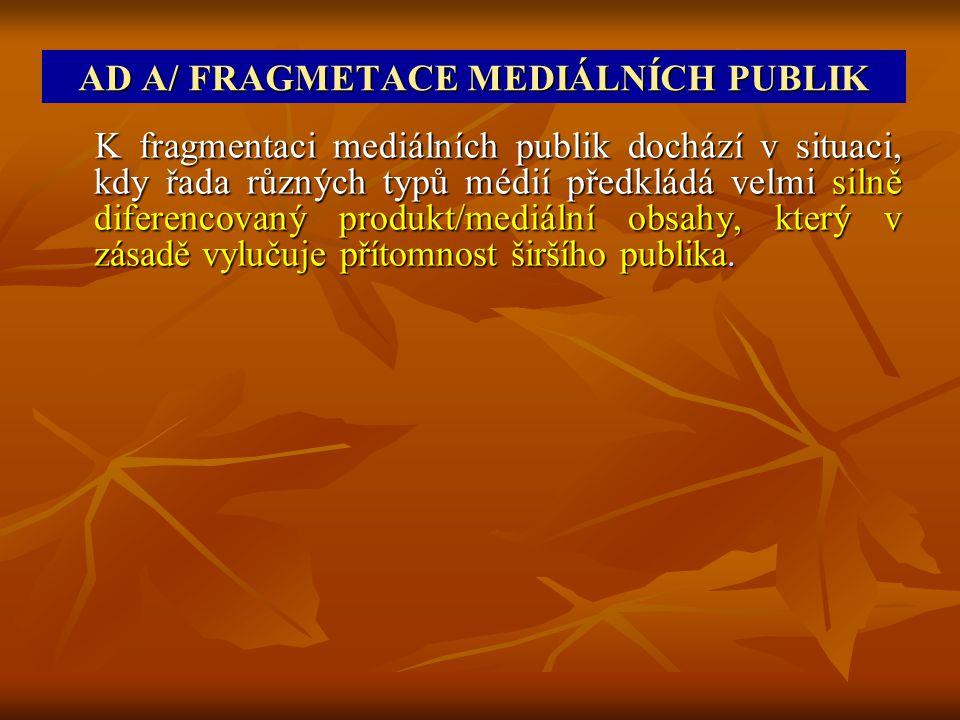 AD A/ FRAGMETACE MEDIÁLNÍCH PUBLIK K fragmentaci mediálních publik dochází v situaci, kdy řada různých typů médií předkládá velmi silně diferencovaný produkt/mediální obsahy, který v zásadě vylučuje přítomnost širšího publika.