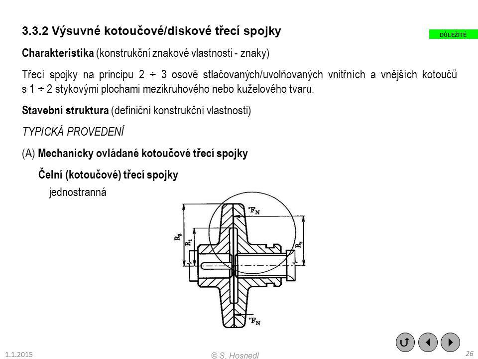 3.3.2 Výsuvné kotoučové/diskové třecí spojky Charakteristika (konstrukční znakové vlastnosti - znaky) Třecí spojky na principu 2 ÷ 3 osově stlačovanýc