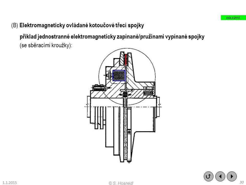 (B) Elektromagneticky ovládané kotoučové třecí spojky příklad jednostranné elektromagneticky zapínané/pružinami vypínané spojky (se sběracími kroužky)