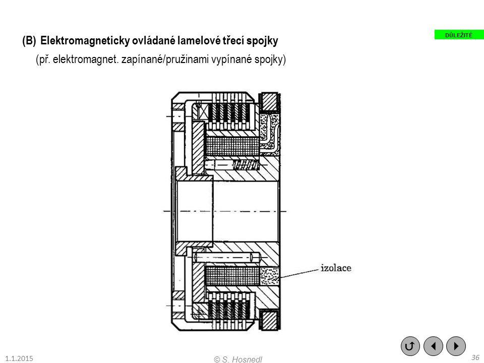 (B)Elektromagneticky ovládané lamelové třecí spojky (př. elektromagnet. zapínané/pružinami vypínané spojky)    36 © S. Hosnedl 1.1.2015 DŮLEŽITÉ