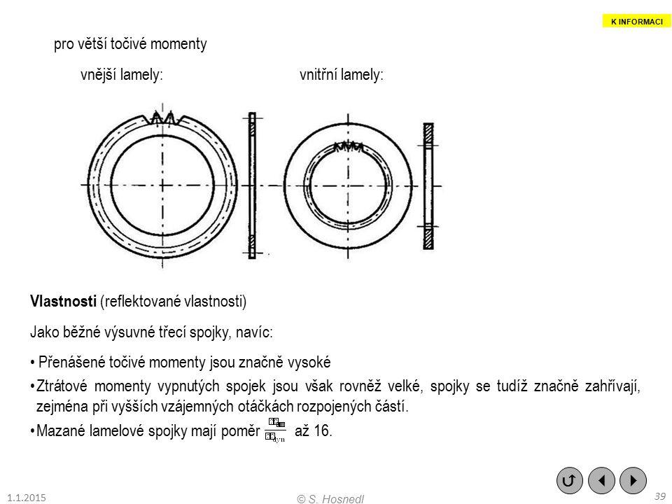 pro větší točivé momenty vnější lamely:vnitřní lamely: Vlastnosti (reflektované vlastnosti) Jako běžné výsuvné třecí spojky, navíc: Přenášené točivé m