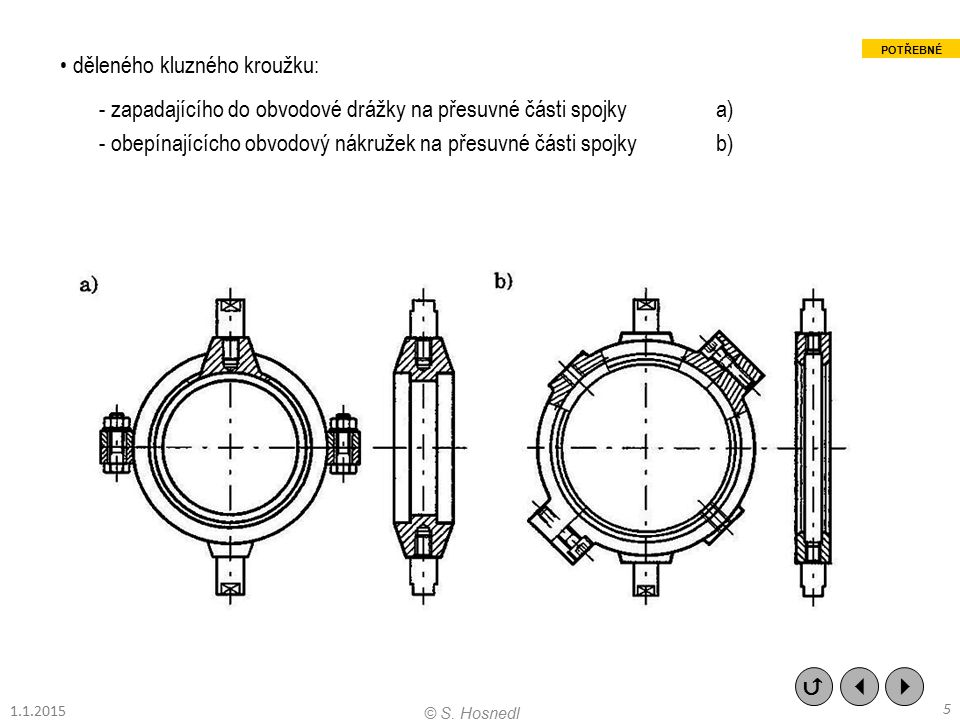 3.3.2 Výsuvné kotoučové/diskové třecí spojky Charakteristika (konstrukční znakové vlastnosti - znaky) Třecí spojky na principu 2 ÷ 3 osově stlačovaných/uvolňovaných vnitřních a vnějších kotoučů s 1 ÷ 2 stykovými plochami mezikruhového nebo kuželového tvaru.