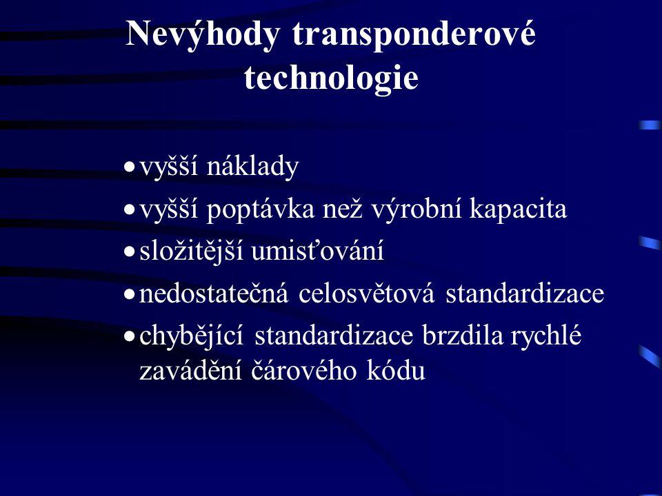 Nevýhody transponderové technologie  vyšší náklady  vyšší poptávka než výrobní kapacita  složitější umisťování  nedostatečná celosvětová standardi