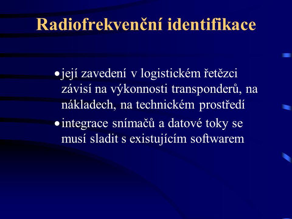 Radiofrekvenční identifikace  její zavedení v logistickém řetězci závisí na výkonnosti transponderů, na nákladech, na technickém prostředí  integrac