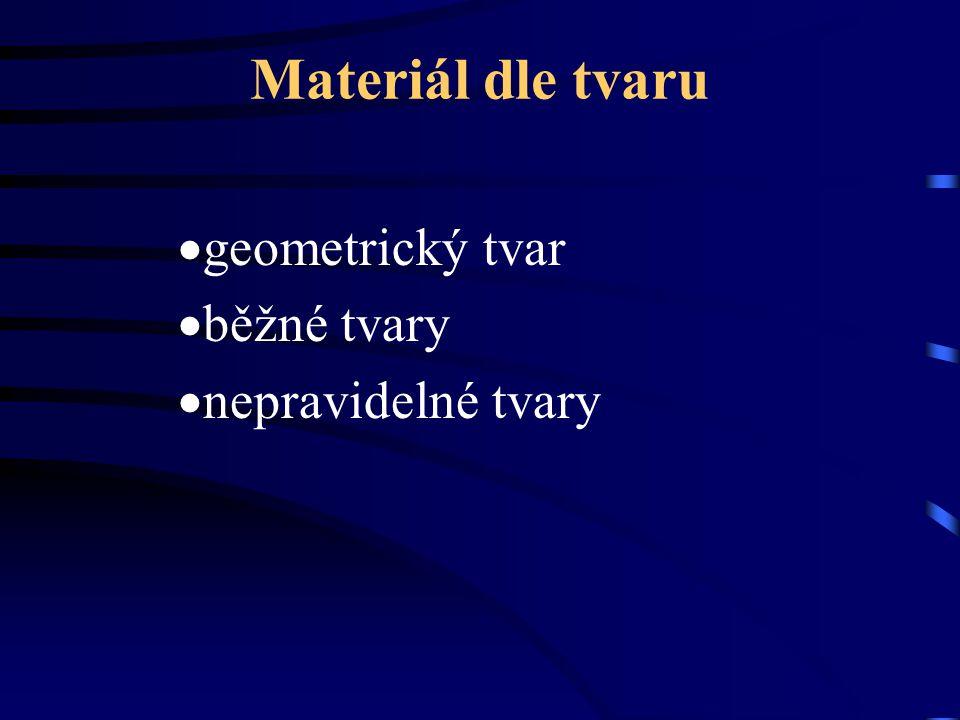 Materiál dle tvaru  geometrický tvar  běžné tvary  nepravidelné tvary