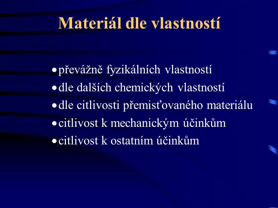 Materiál dle vlastností  převážně fyzikálních vlastností  dle dalších chemických vlastností  dle citlivosti přemisťovaného materiálu  citlivost k