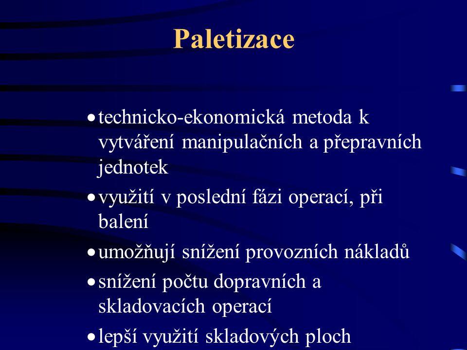 Paletizace  technicko-ekonomická metoda k vytváření manipulačních a přepravních jednotek  využití v poslední fázi operací, při balení  umožňují sní