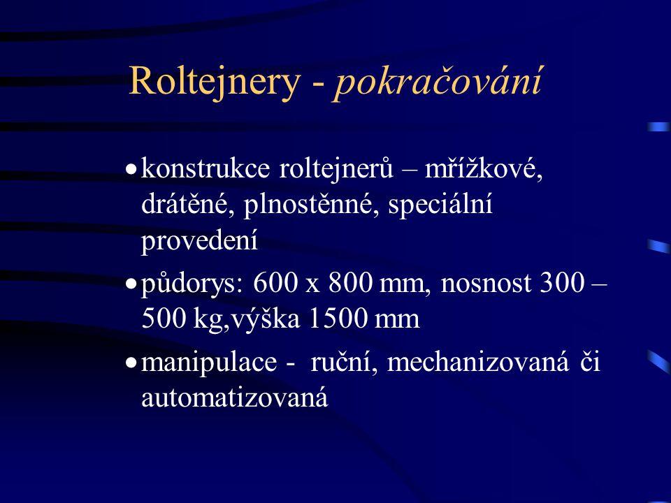 Roltejnery - pokračování  konstrukce roltejnerů – mřížkové, drátěné, plnostěnné, speciální provedení  půdorys: 600 x 800 mm, nosnost 300 – 500 kg,vý