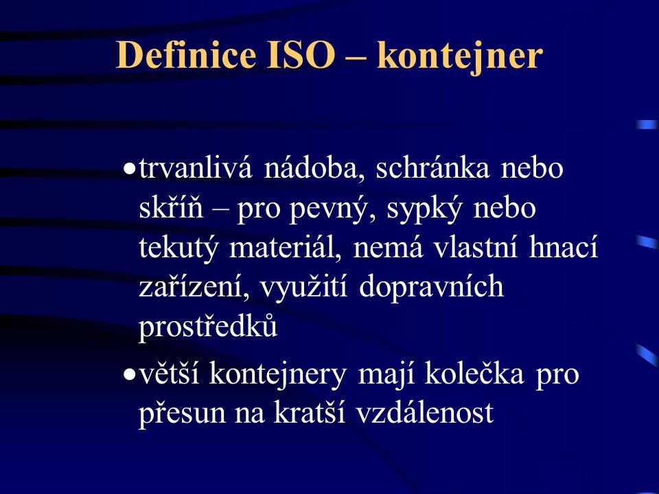 Definice ISO – kontejner  trvanlivá nádoba, schránka nebo skříň – pro pevný, sypký nebo tekutý materiál, nemá vlastní hnací zařízení, využití dopravn