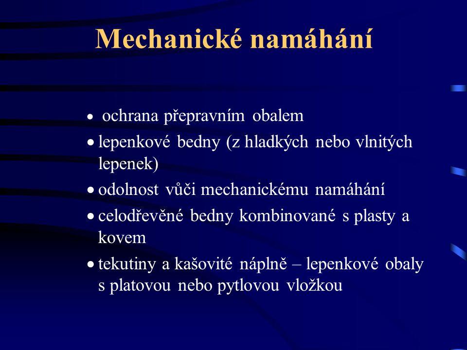 Mechanické namáhání  ochrana přepravním obalem  lepenkové bedny (z hladkých nebo vlnitých lepenek)  odolnost vůči mechanickému namáhání  celodřevě