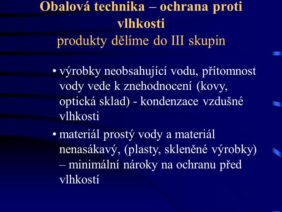 Obalová technika – ochrana proti vlhkosti produkty dělíme do III skupin výrobky neobsahující vodu, přítomnost vody vede k znehodnocení (kovy, optická