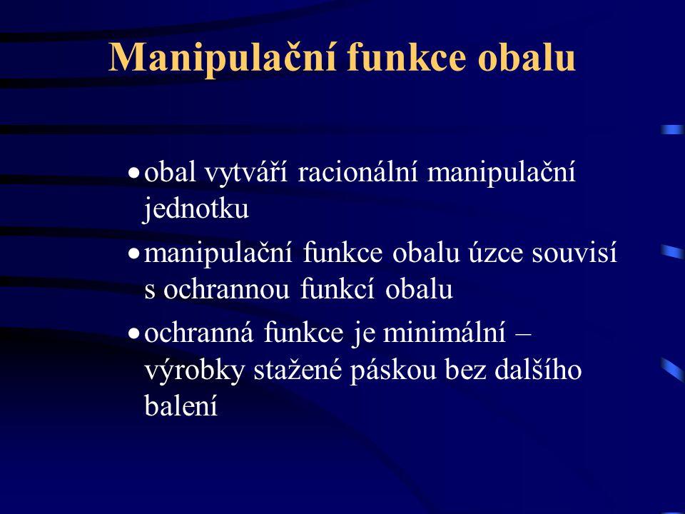Manipulační funkce obalu  obal vytváří racionální manipulační jednotku  manipulační funkce obalu úzce souvisí s ochrannou funkcí obalu  ochranná fu