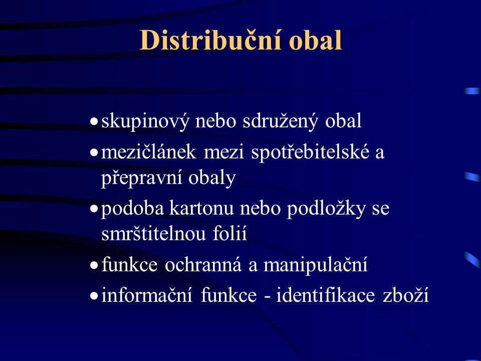 Distribuční obal  skupinový nebo sdružený obal  mezičlánek mezi spotřebitelské a přepravní obaly  podoba kartonu nebo podložky se smrštitelnou foli
