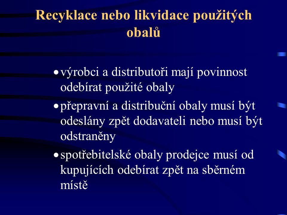 Recyklace nebo likvidace použitých obalů  výrobci a distributoři mají povinnost odebírat použité obaly  přepravní a distribuční obaly musí být odesl