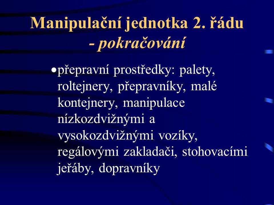 Manipulační jednotka 2. řádu - pokračování  přepravní prostředky: palety, roltejnery, přepravníky, malé kontejnery, manipulace nízkozdvižnými a vysok