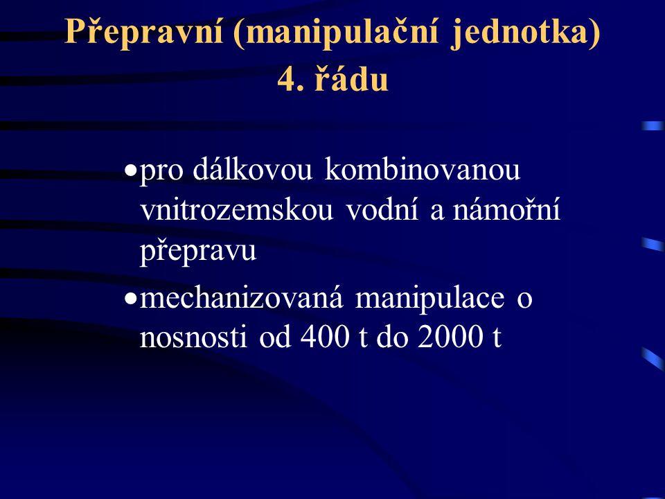 Přepravní (manipulační jednotka) 4. řádu  pro dálkovou kombinovanou vnitrozemskou vodní a námořní přepravu  mechanizovaná manipulace o nosnosti od 4