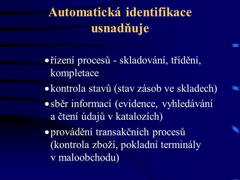 Automatická identifikace usnadňuje  řízení procesů - skladování, třídění, kompletace  kontrola stavů (stav zásob ve skladech)  sběr informací (evid