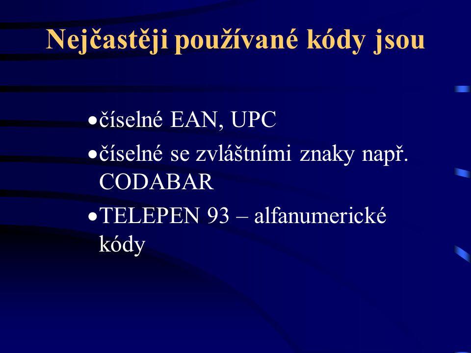Nejčastěji používané kódy jsou  číselné EAN, UPC  číselné se zvláštními znaky např. CODABAR  TELEPEN 93 – alfanumerické kódy