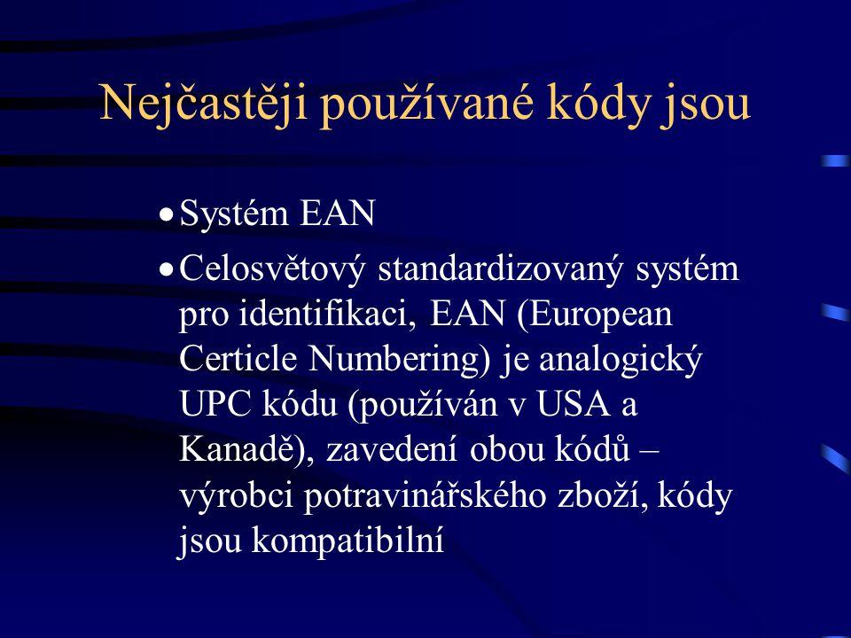 Nejčastěji používané kódy jsou  Systém EAN  Celosvětový standardizovaný systém pro identifikaci, EAN (European Certicle Numbering) je analogický UPC