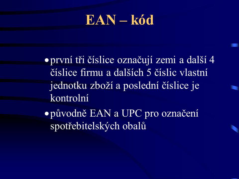 EAN – kód  první tři číslice označují zemi a další 4 číslice firmu a dalších 5 číslic vlastní jednotku zboží a poslední číslice je kontrolní  původn