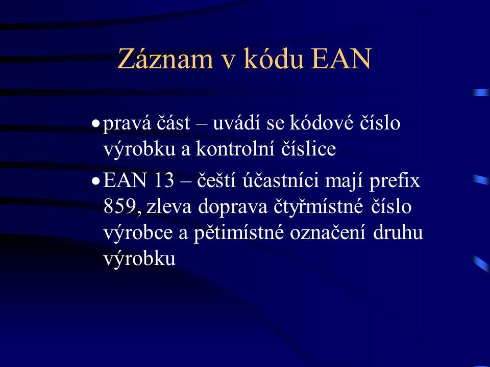 Záznam v kódu EAN  pravá část – uvádí se kódové číslo výrobku a kontrolní číslice  EAN 13 – čeští účastníci mají prefix 859, zleva doprava čtyřmístn