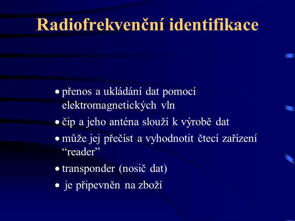 Radiofrekvenční identifikace  přenos a ukládání dat pomocí elektromagnetických vln  čip a jeho anténa slouží k výrobě dat  může jej přečíst a vyhod