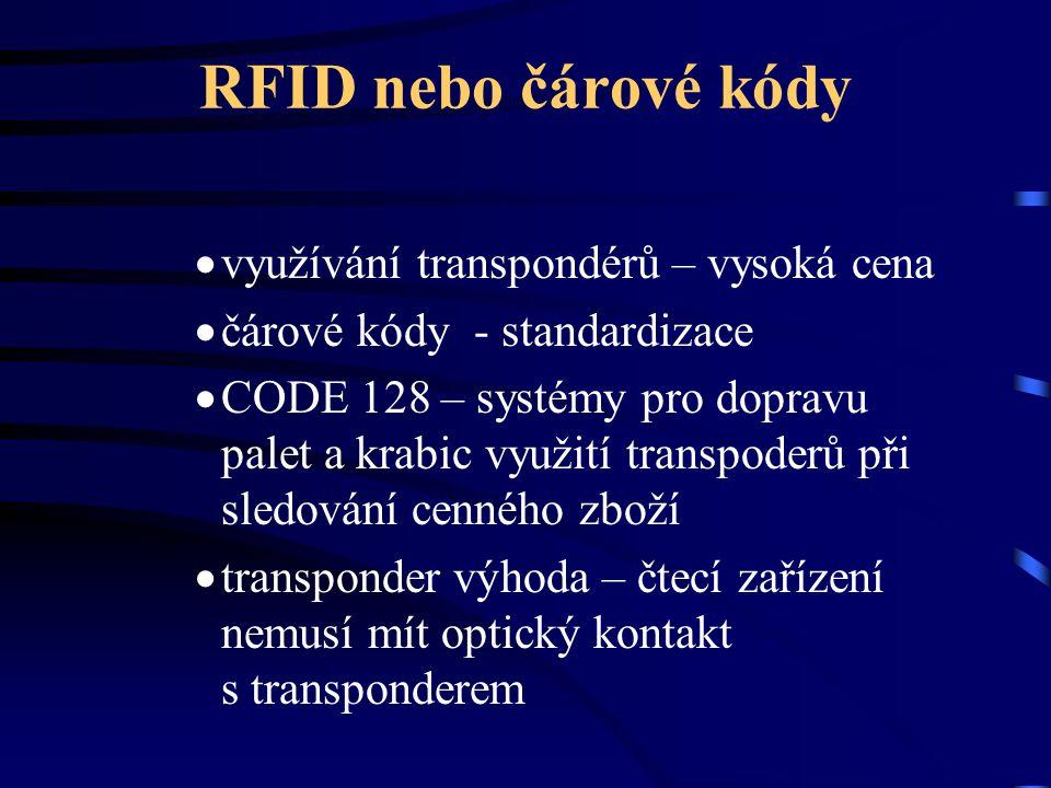 RFID nebo čárové kódy  využívání transpondérů – vysoká cena  čárové kódy - standardizace  CODE 128 – systémy pro dopravu palet a krabic využití tra