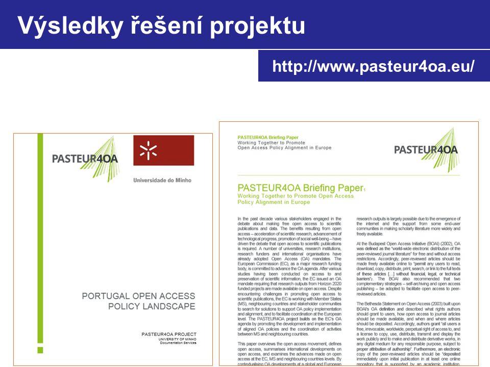 Výsledky řešení projektu http://www.pasteur4oa.eu/