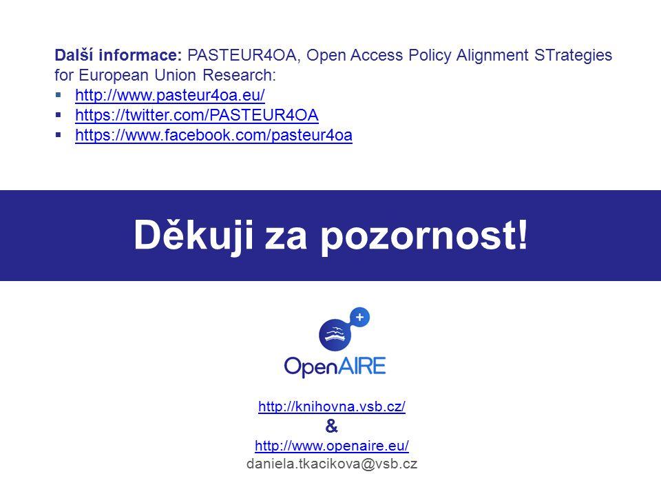 Děkuji za pozornost! http://knihovna.vsb.cz/ & http://www.openaire.eu/ daniela.tkacikova@vsb.cz Další informace: PASTEUR4OA, Open Access Policy Alignm