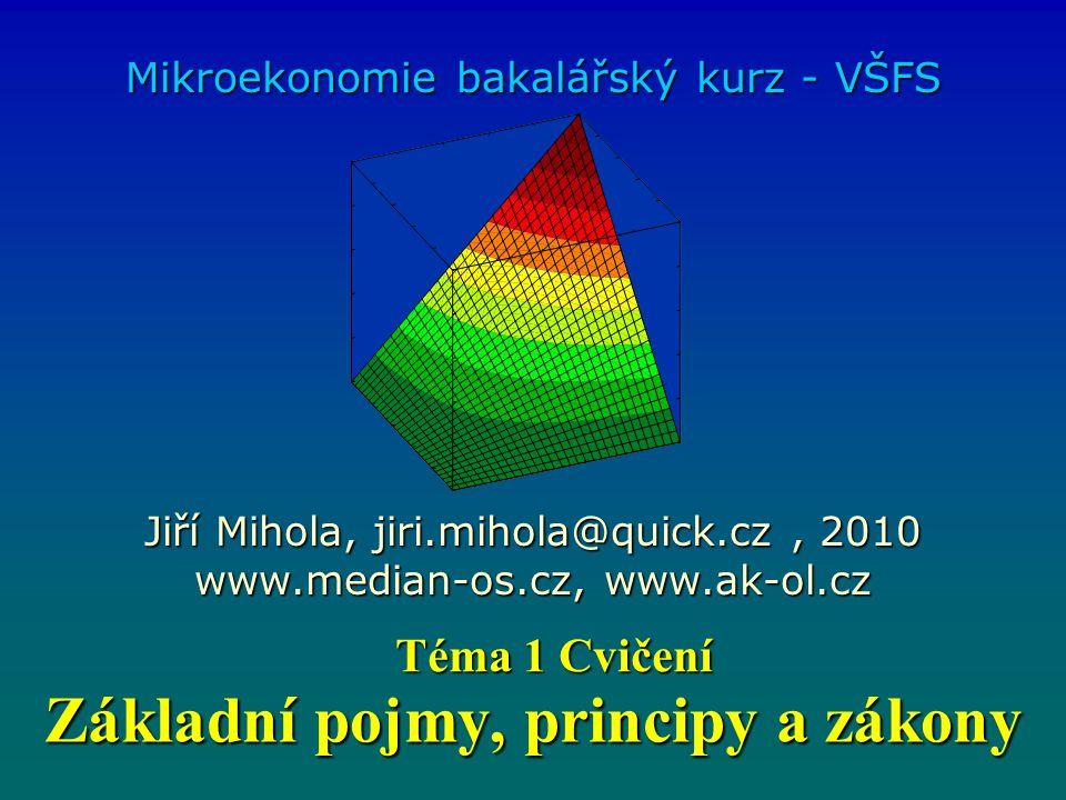 Základní pojmy, principy a zákony Mikroekonomie bakalářský kurz - VŠFS Jiří Mihola, jiri.mihola@quick.cz, 2010 www.median-os.cz, www.ak-ol.cz Téma 1 C