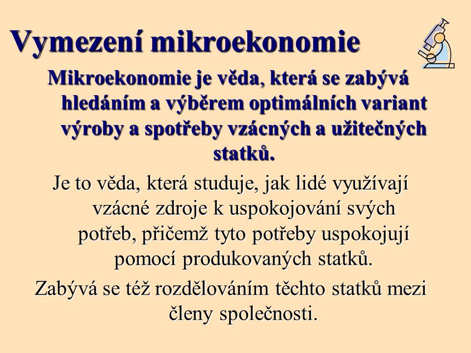 Vymezení mikroekonomie Mikroekonomie je věda, která se zabývá hledáním a výběrem optimálních variant výroby a spotřeby vzácných a užitečných statků. J