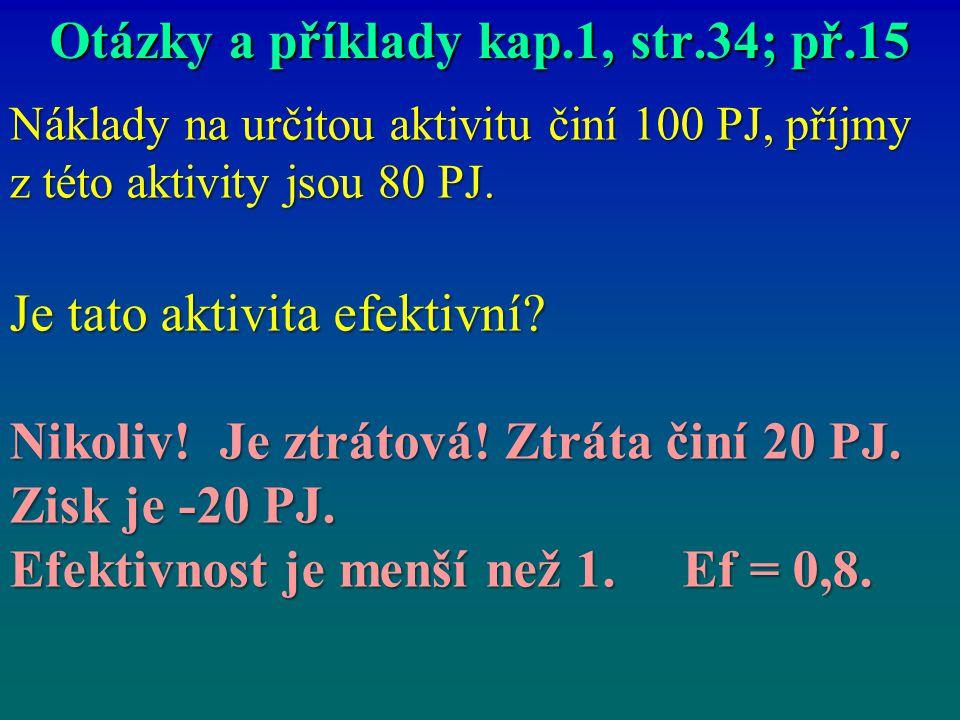 Otázky a příklady kap.1, str.34; př.15 Náklady na určitou aktivitu činí 100 PJ, příjmy z této aktivity jsou 80 PJ. Je tato aktivita efektivní? Nikoliv